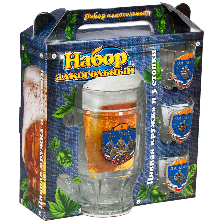 """Стеклянный набор для алкоголя """"За МЧС!"""""""