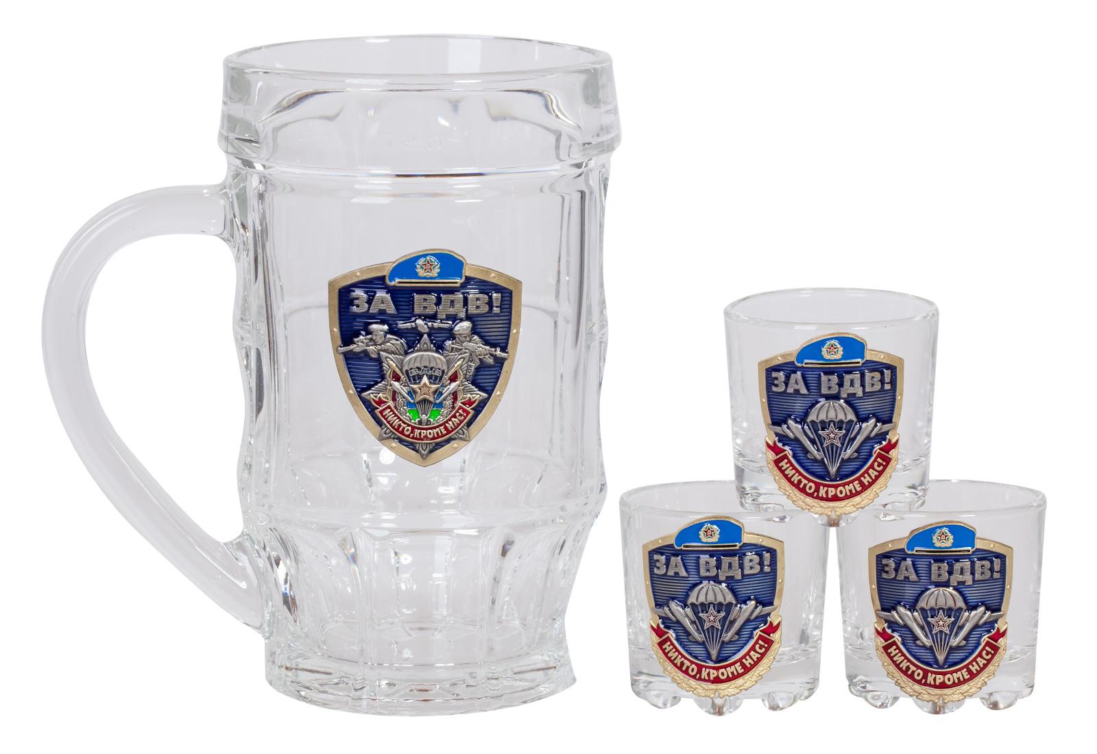 """Оригинальный стеклянный набор для алкоголя """"За ВДВ!"""" недорого"""