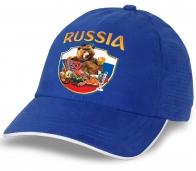 """Стильная бейсболка """"Russia"""" с медведем. Отменный головной убор для патриотов!"""