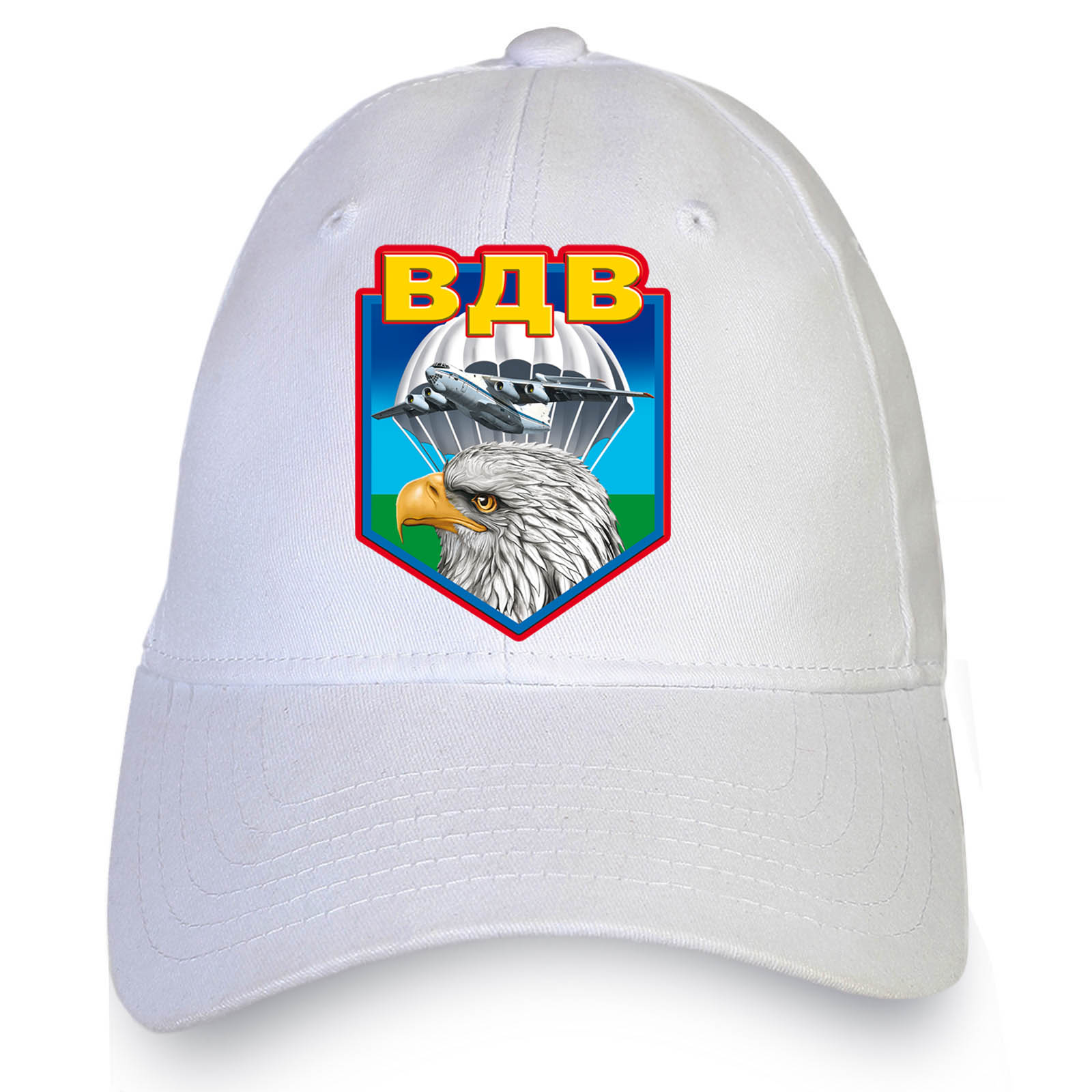 Купить стильную белую бейсболку с термотрансфером ВДВ с доставкой в ваш город