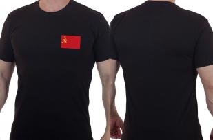 Стильная элегантная футболка с вышитым флагом СССР - заказать с доставкой