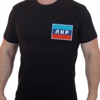 Стильная мужская футболка с вышитым флагом ЛНР.