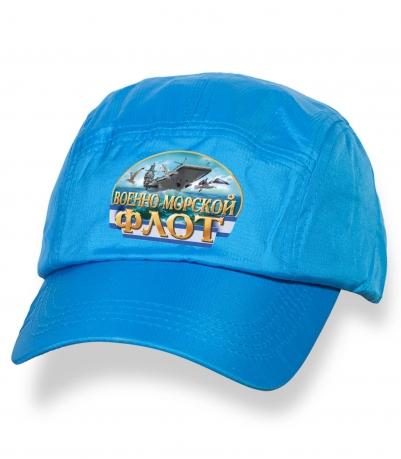 Стильная голубая кепка-пятипанелька с термотрансфером ВМФ
