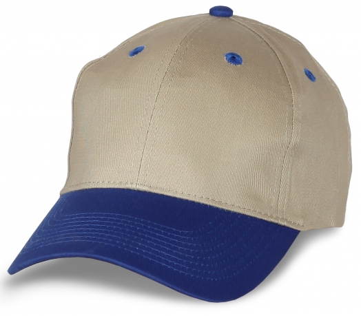 Стильная кепка песочного цвета с синим козырьком