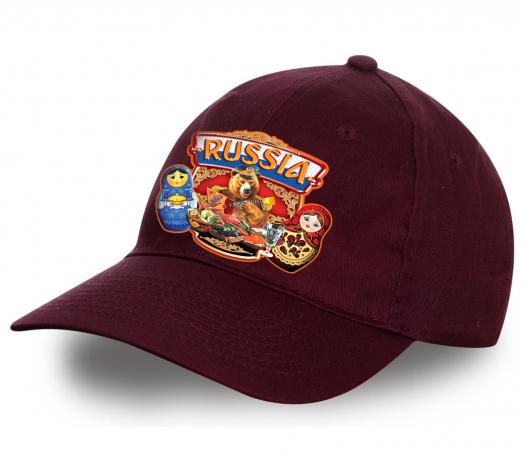 """Стильная кепка """"Russia"""" в бордовом цвете. Плотный хлопок, популярный дизайн. Заказывай, 100% понравится!"""