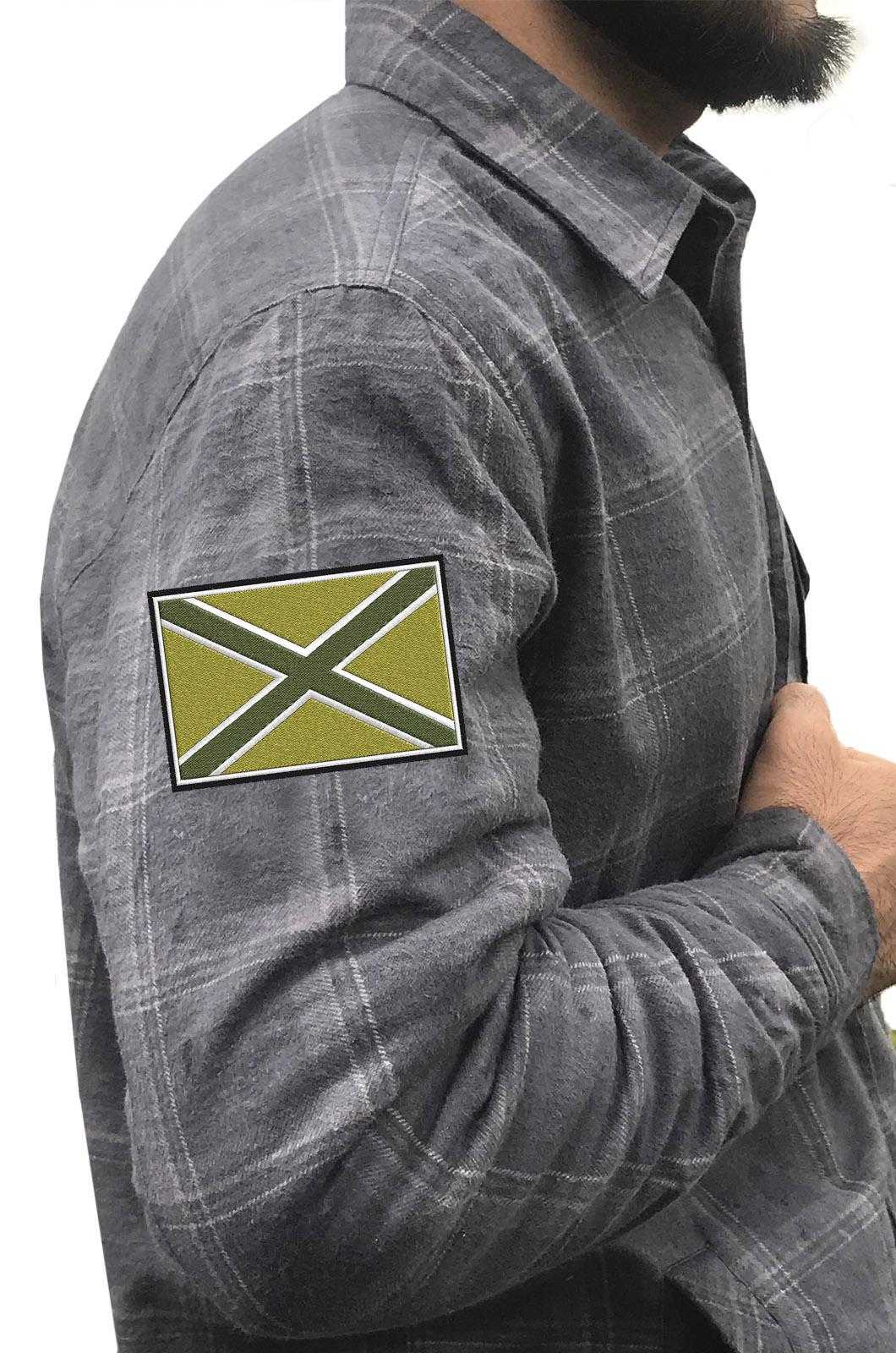 Стильная клетчатая рубашка с вышитым полевым шевроном Новороссия - купить онлайн