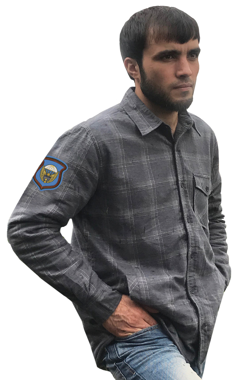 Стильная клетчатая рубашка с вышитым шевроном 106 гв. ВДД