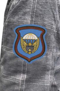 Стильная клетчатая рубашка с вышитым шевроном 106 гв. ВДД - купить с доставккой