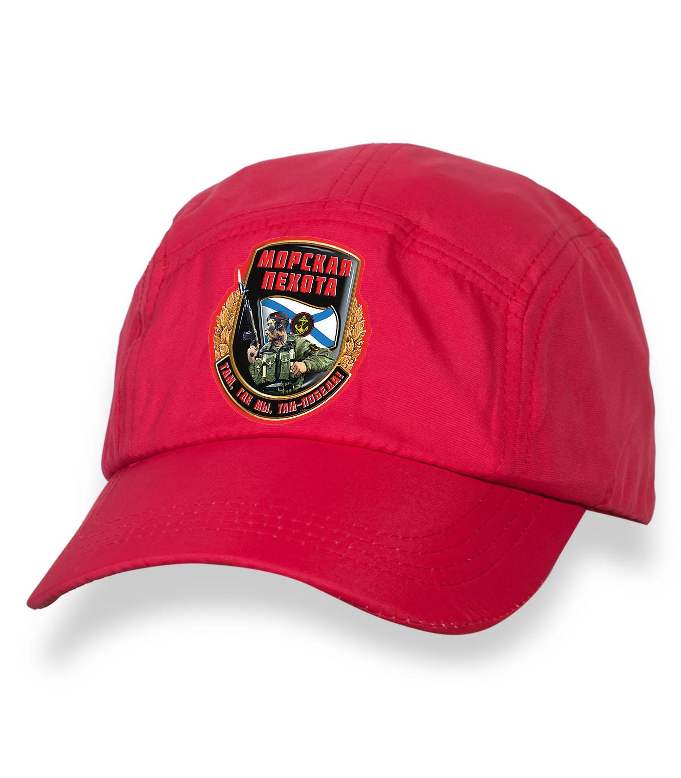 Стильная красная кепка с термотрансфером МОРСКАЯ ПЕХОТА
