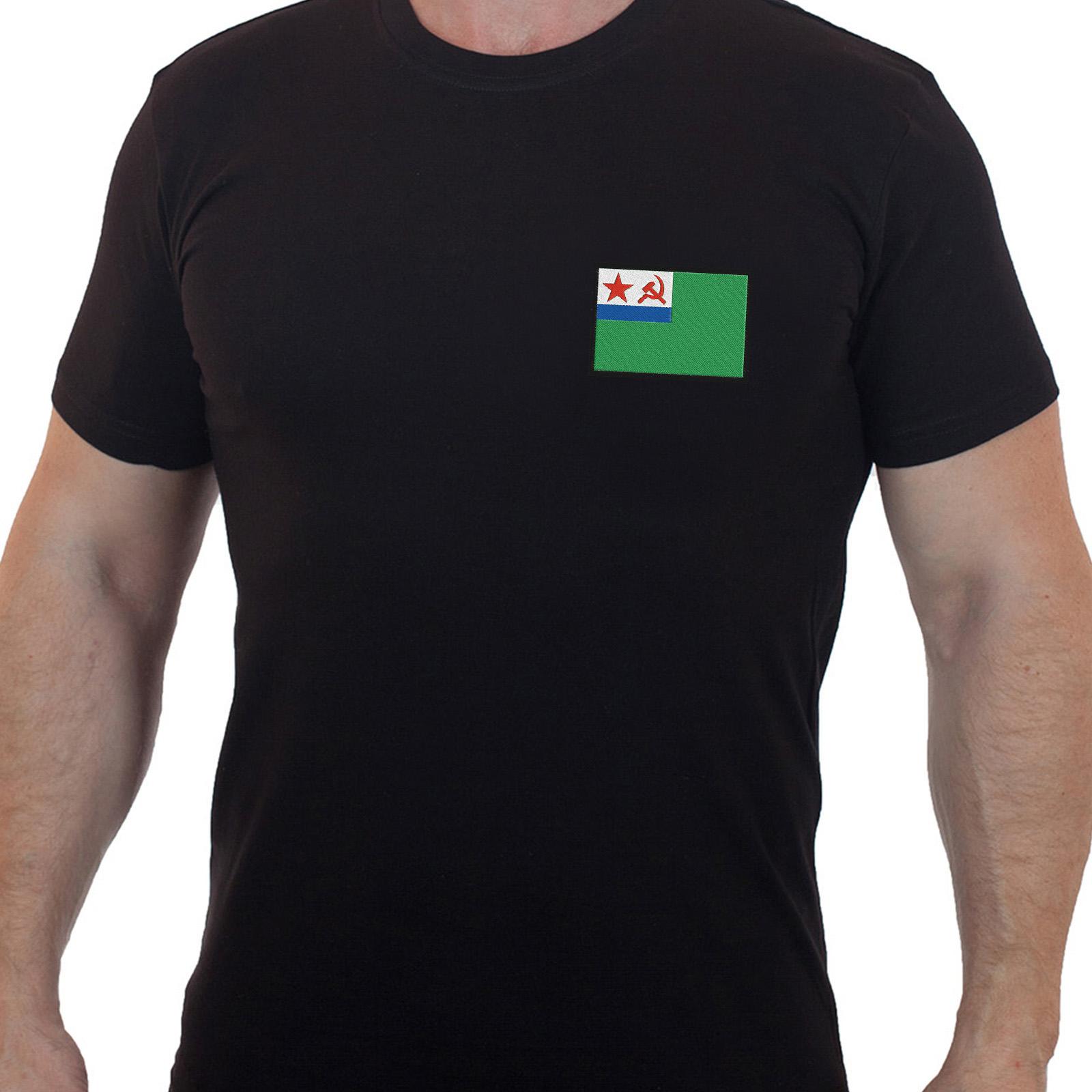 Стильная милитари футболка с вышитым шевроном Морчасти Погранвойск СССР