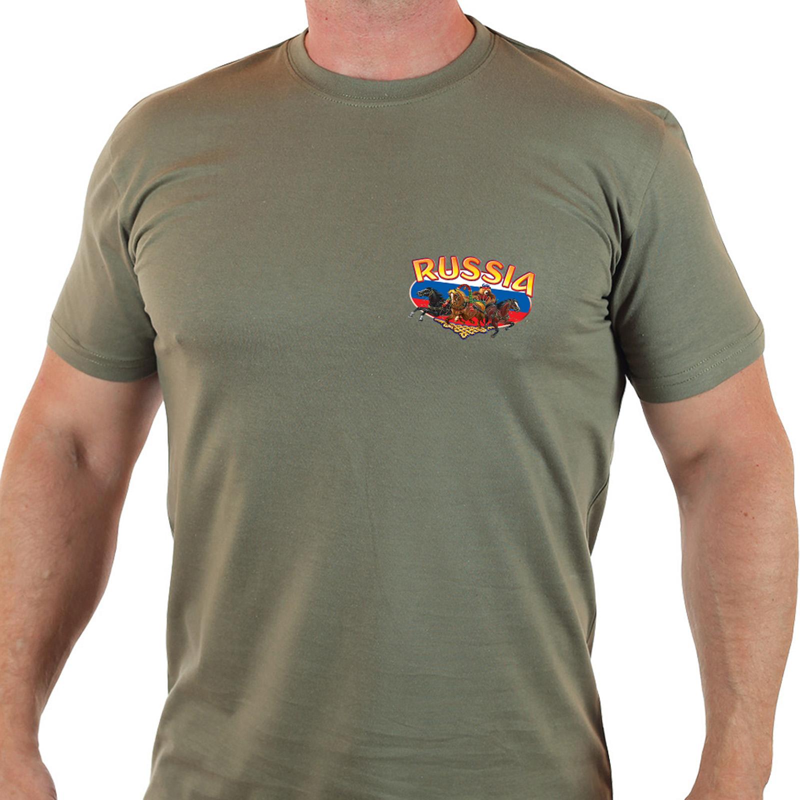 Купить стильную мужскую футболку «Россия»