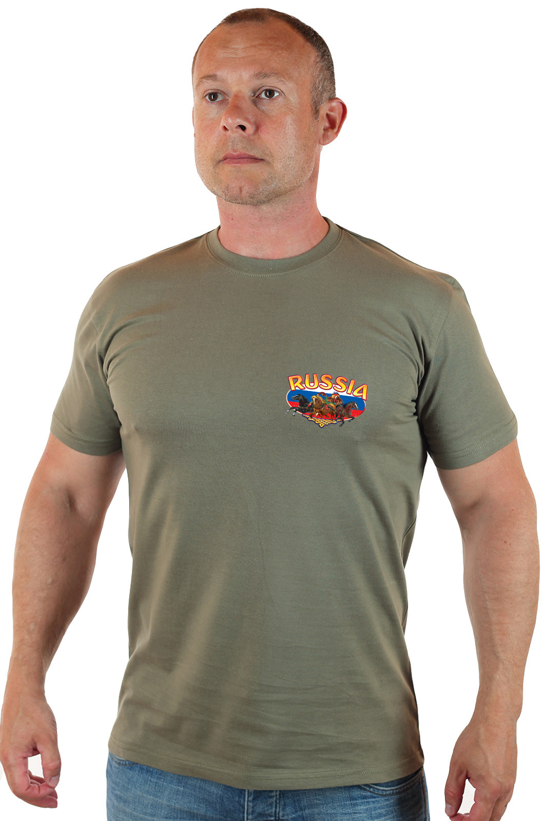 """Стильная мужская футболка """"Россия"""" - купить в подарок"""