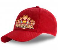 Стильная патриотическая бейсболка с дизайнерским принтом «Russia» Матрешки хлебосольные от Военпро. Не теряйте возможность заказать, количество ограничено!