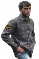 Стильная рубашка с вышитым шевроном Грибные Войска