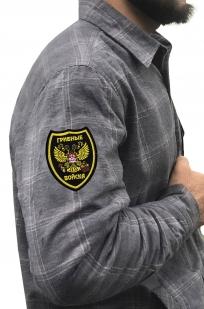 Стильная рубашка с вышитым шевроном Грибные Войска - купить по низкой цене
