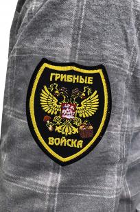 Стильная рубашка с вышитым шевроном Грибные Войска - купить в Военпро