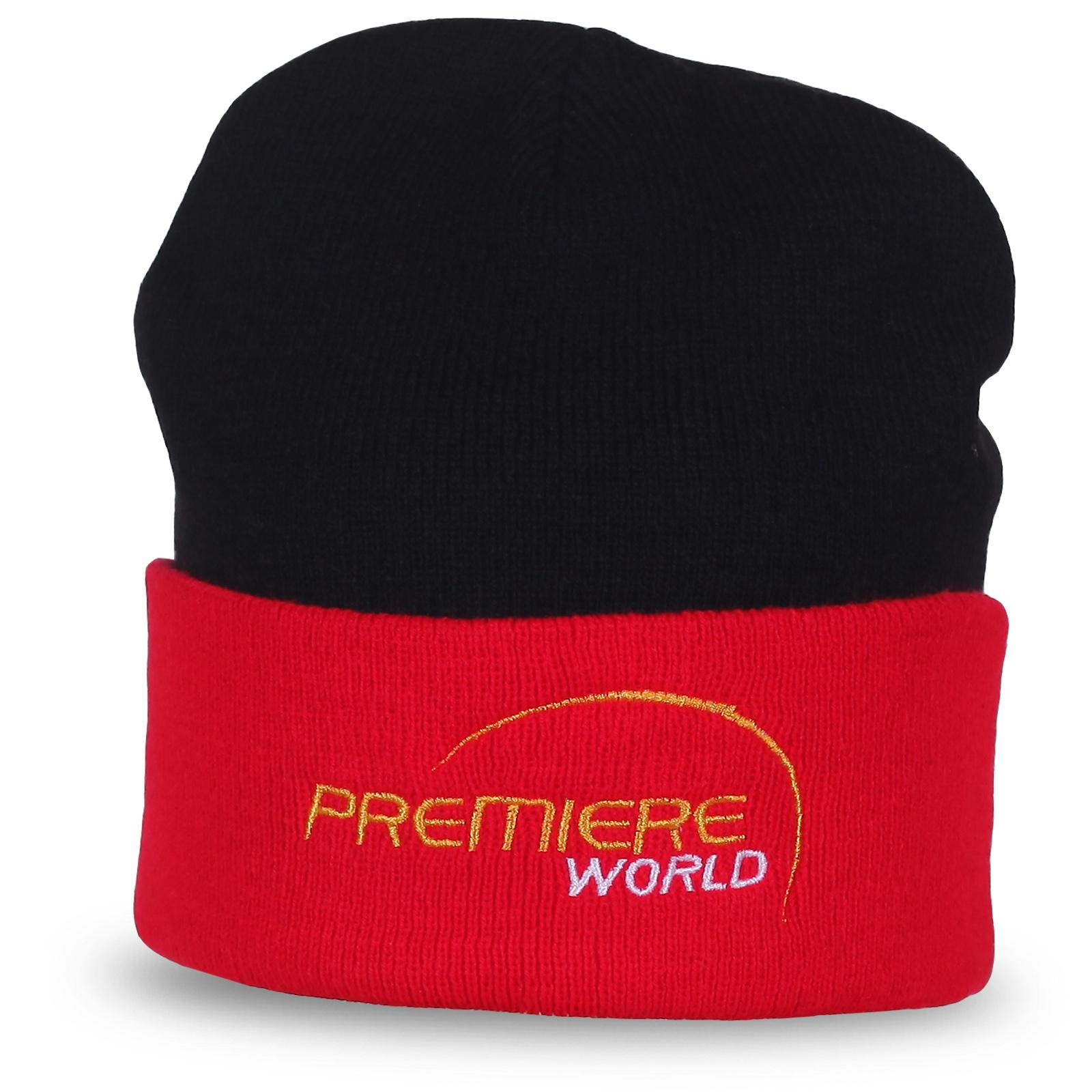 Стильная шапка Premiere World. Дерзкий красно-черный цвет для решительных людей