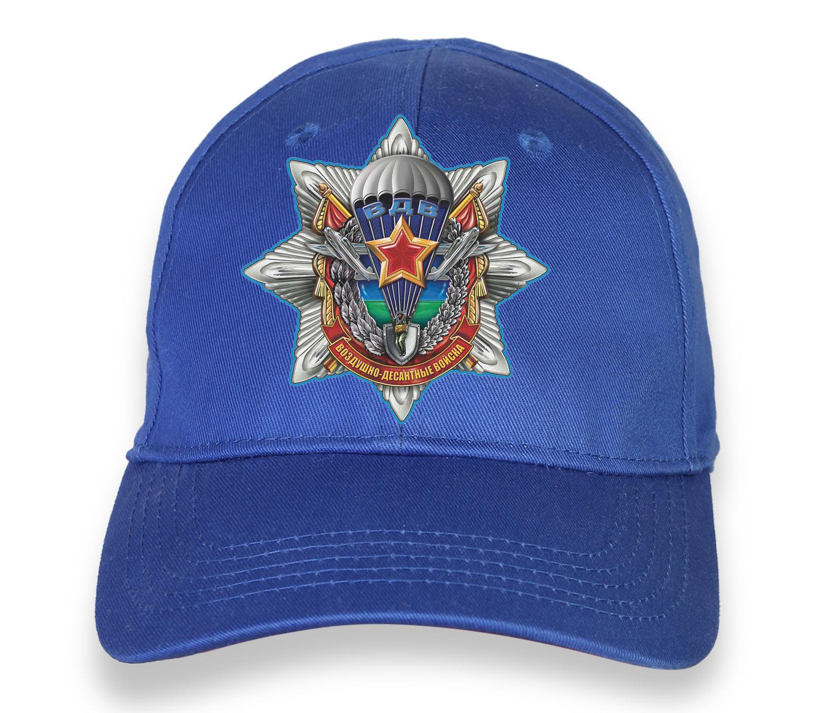 Купить стильную синюю бейсболку с термотрансфером ВДВ по лучшей цене