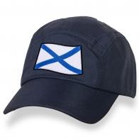 Стильная темно-синяя кепка с нашивкой Андреевский флаг