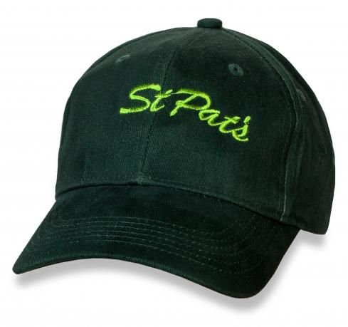 Стильная темно-зеленая бейсболка St Pats