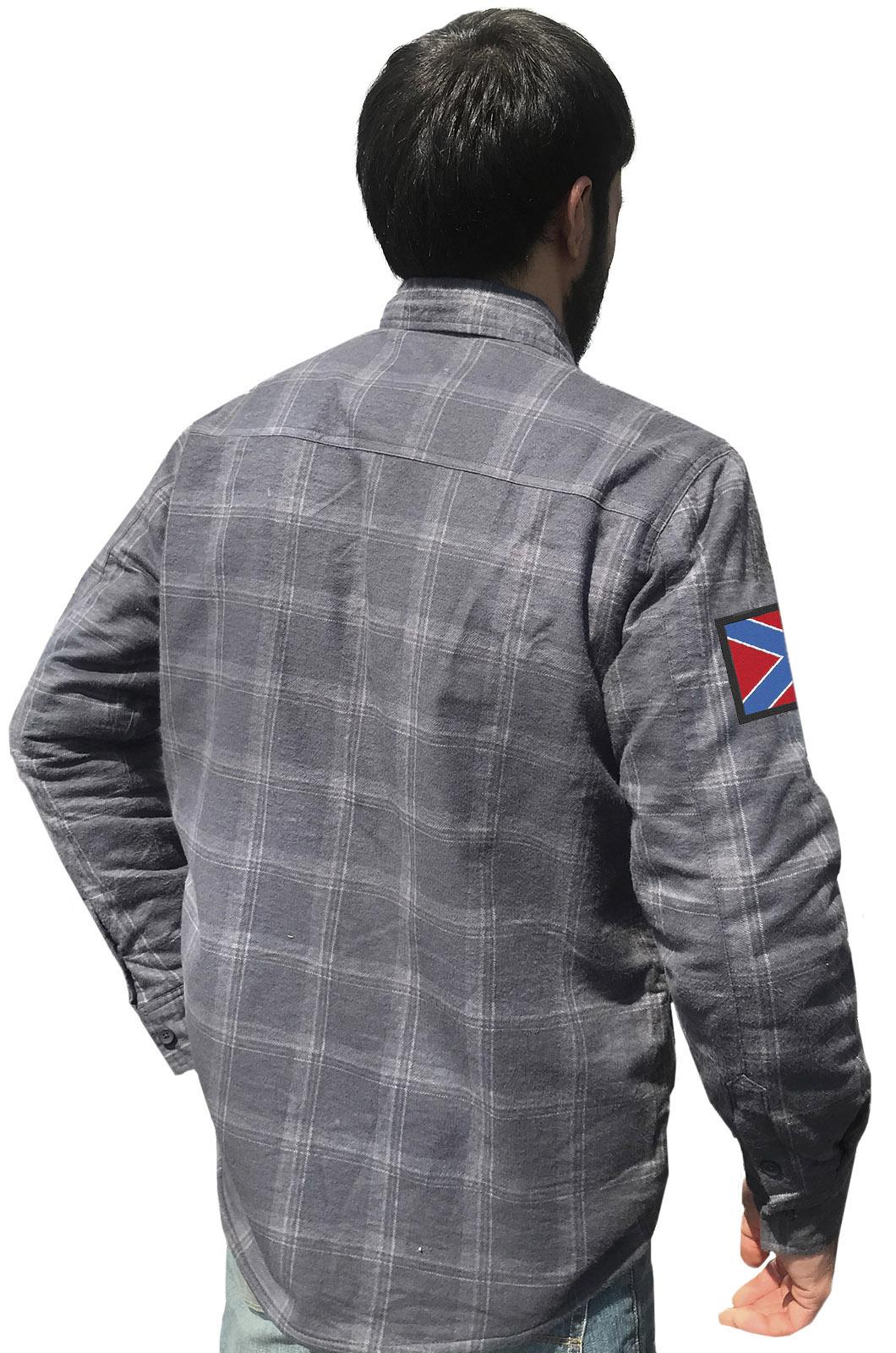 Купить стильную утепленную рубашку с вышитым флагом Новороссии оптом или в розницу