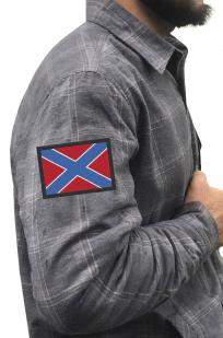 Стильная утепленная рубашка с вышитым флагом Новороссии - купить выгодно