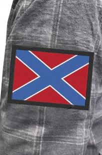 Стильная утепленная рубашка с вышитым флагом Новороссии - купить оптом