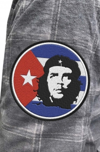 Стильная утепленная рубашка с вышитым шевроном Че Гевара - купить с доставкой