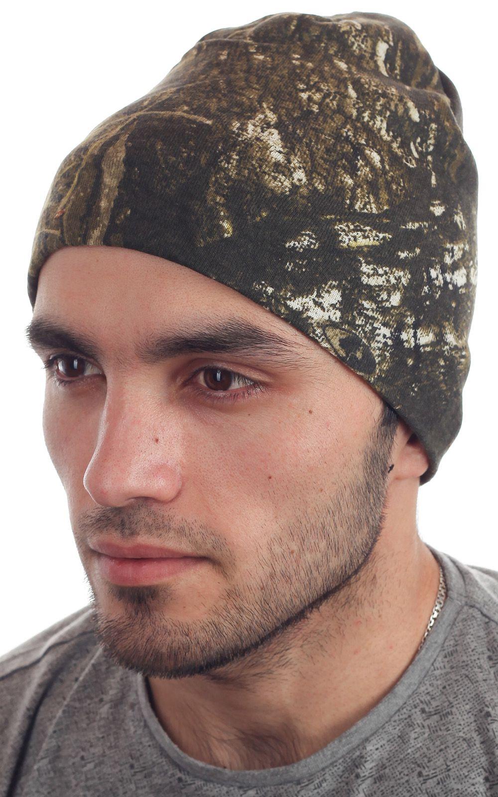 Стильная вязаная мужская шапочка из камуфляжа Realtree - вид сбоку