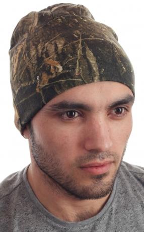 Стильная вязаная мужская шапочка из камуфляжа Realtree