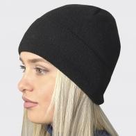 Стильная женская шапочка черного цвета