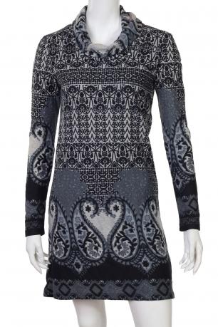 Стильное миди-платье с этно-орнаментом