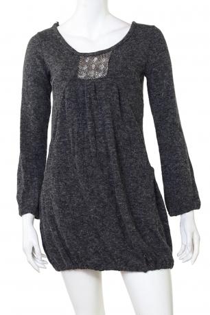 Стильное серое платье-туника с декольте - заказать онлайн