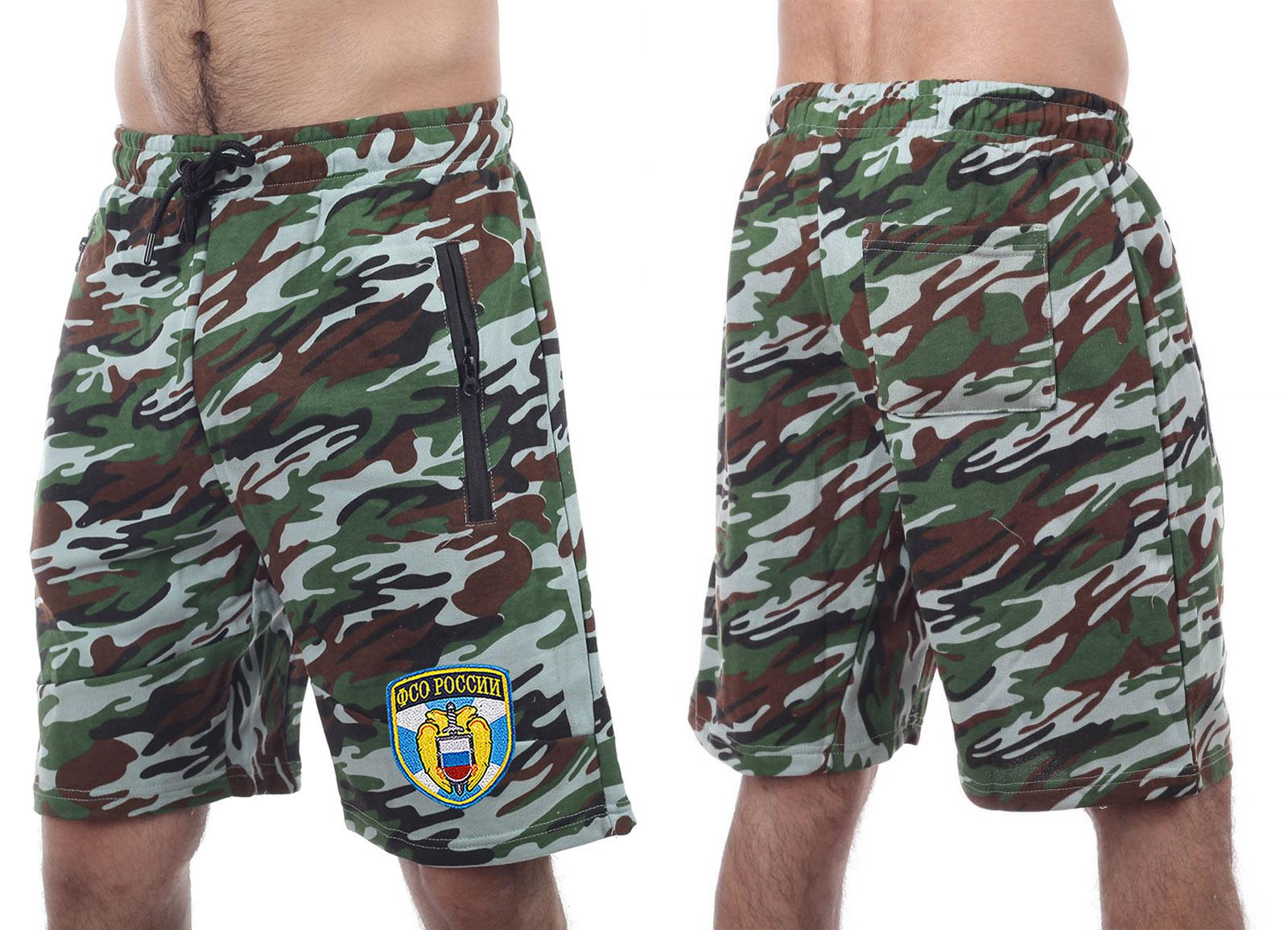 Стильные камуфлированные шорты с нашивкой ФСО - заказать онлайн