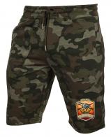 Стильные камуфляжные шорты с нашивкой Русская Охота