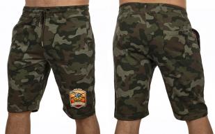 Стильные камуфляжные шорты с нашивкой Русская Охота - заказать с доставкой