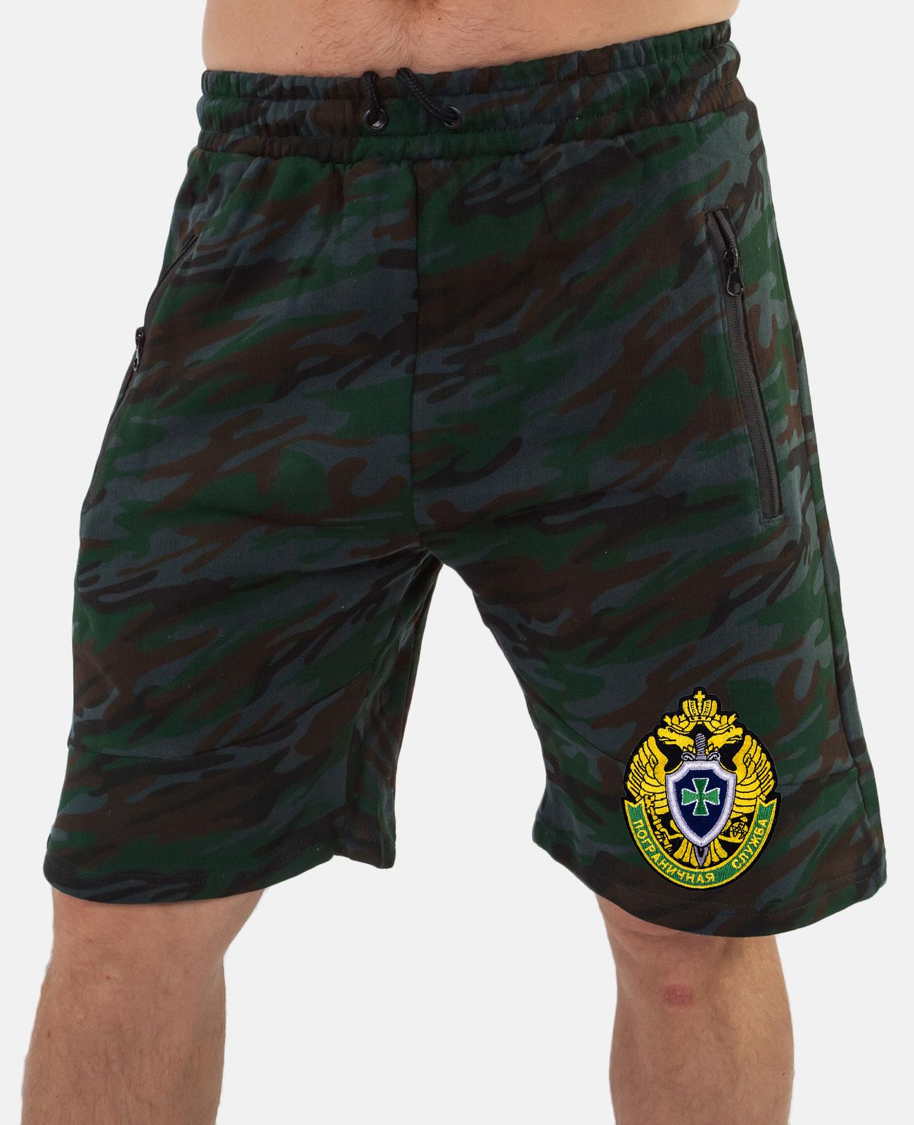 Стильные мужские шорты с эмблемой Погранслужбы заказать по сбалансированной цене
