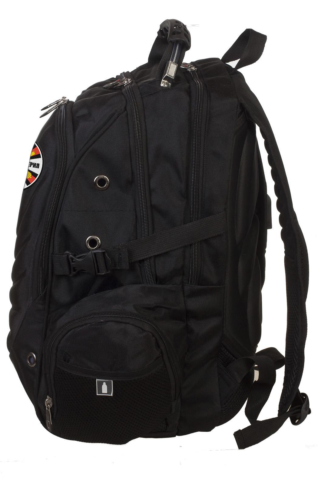 Стильный черный рюкзак с нашивкой РВиА - заказать оптом