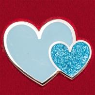 """Стильный значок """"Голубые сердечки"""""""