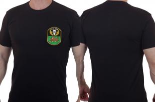 Строгая черная футболка с вышитой эмблемой 7гв. ВДД -  выгодно