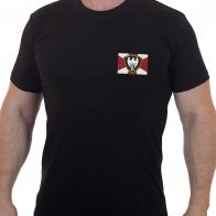 Строгая черная футболка с вышитым шевроном Московский округ МВД