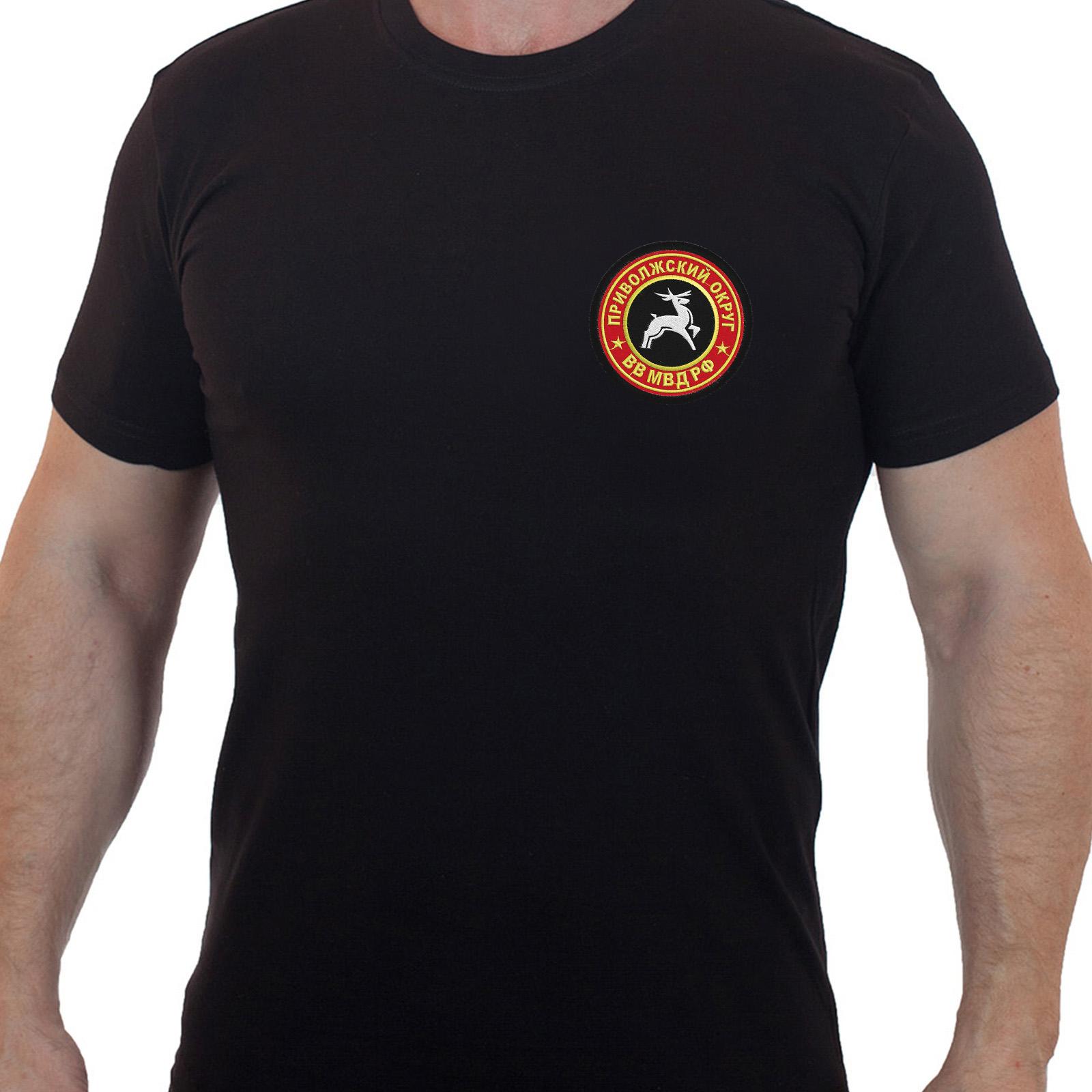 Строгая черная футболка с вышитым шевроном Приволжский Округ ВВ МВД