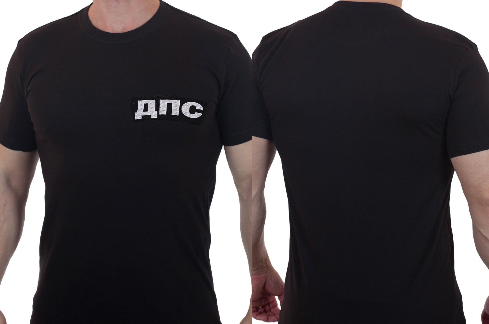 Строгая черная футболка с вышивкой ДПС