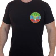 Строгая черная футболка с вышивкой Флаг Дагестана