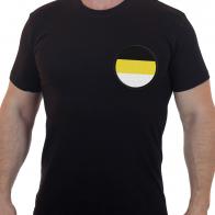 Строгая черная футболка с вышивкой Имперский триколор