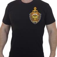 Строгая черная футболка с вышивкой МВД России