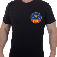 Строгая черная футболка с вышивкой РВСН