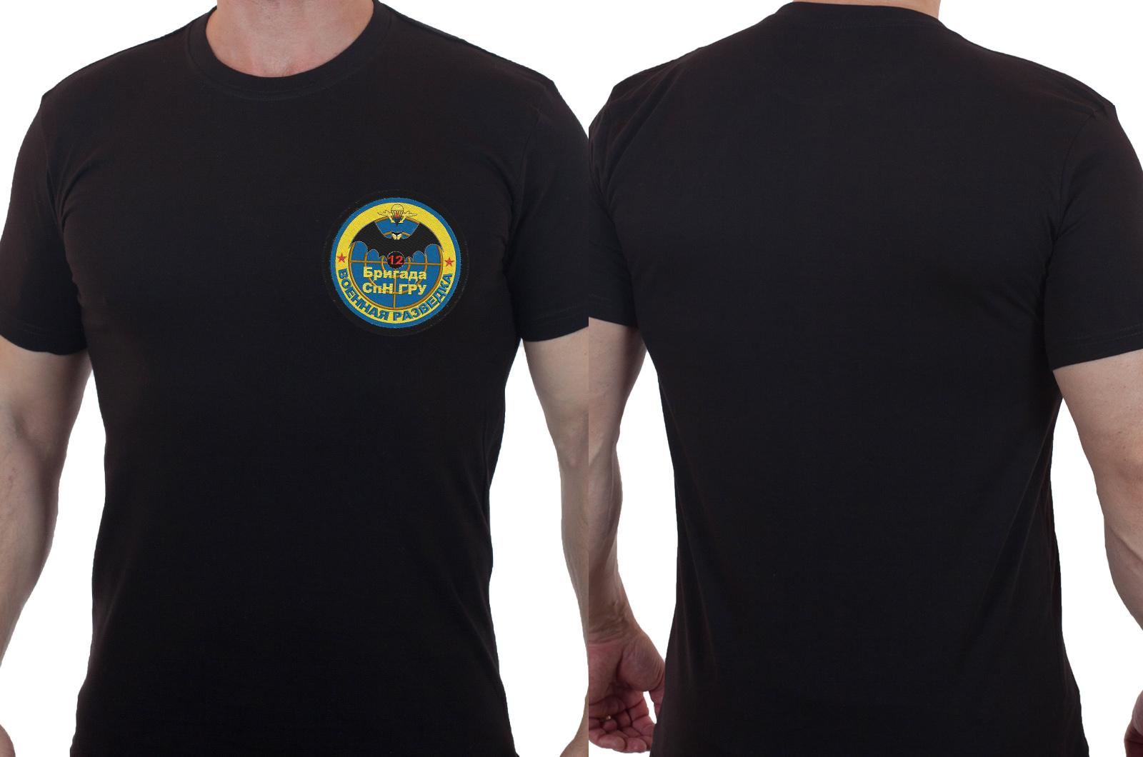 Строгая черная футболка с вышивкой Военная Разведка