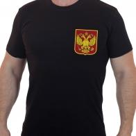 Строгая мужская футболка с вышитым Государственным гербом РФ
