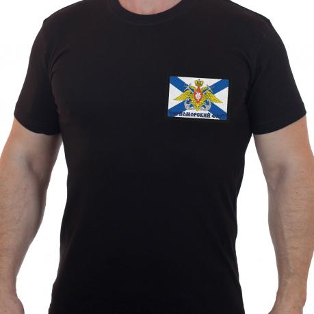 Строгая мужская футболка с вышивкой Черноморский Флот